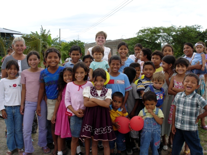 Emily with a group of Hondurans
