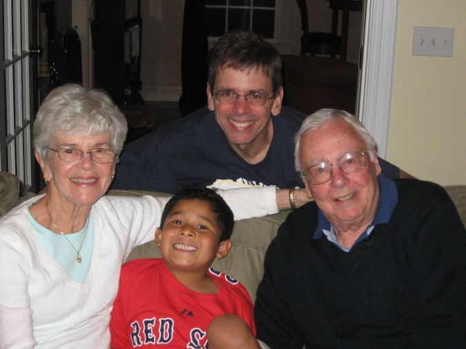 Noel with Abuelo, Abuela, and Tio Bob