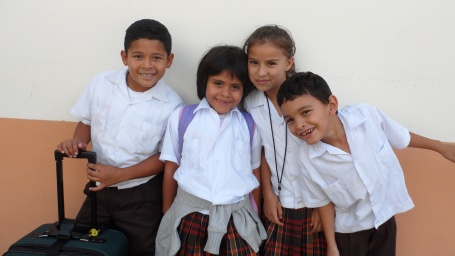 Noel, Astrid, Daniela, Wesly at school
